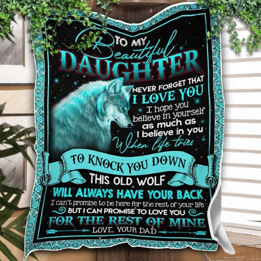 CUSTOM BLANKET WOLF TO MY DAUGHTER BLANKET - GIFT FOR DAUGHTER - FLEECE BLANKET