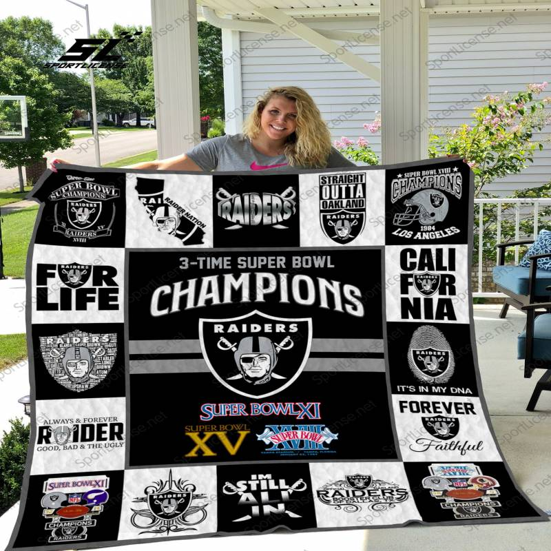 Oakland Raiders 3 times super bowl champions quilt blanket – Teasearch3d 210520