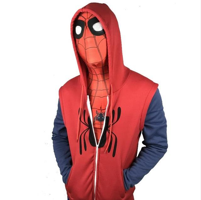 2017 Movie Spider-Man Homecoming Peter Parker Cosplay Superman Pullover Hoodies Men Sweatshirt Long Sleeve SpiderMan Jacket