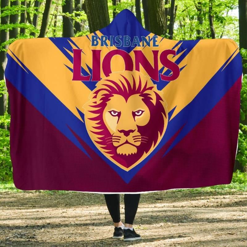 The Brisbane Lions Football Club Economy Hooded Blanket A25