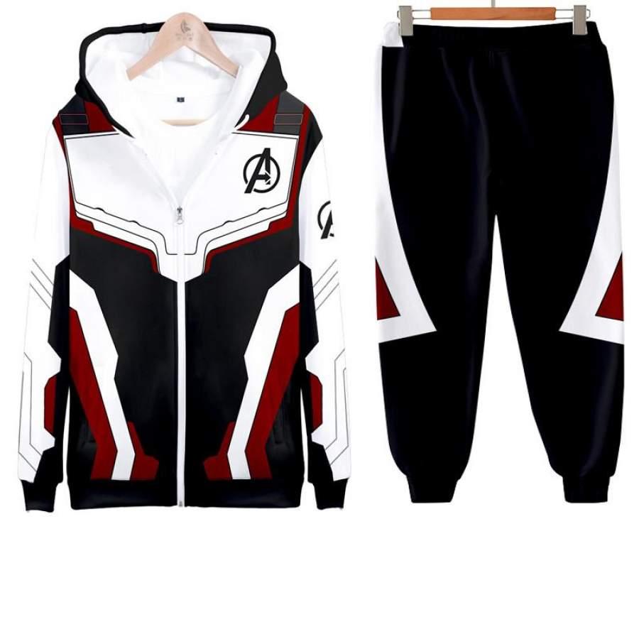 Avengers 4 Suit 3D Print Zip UP Hoodie with Pants