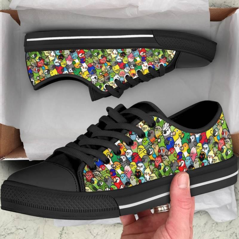 Ligerking™ Parrot Family Black  Low Top Shoes HD02722