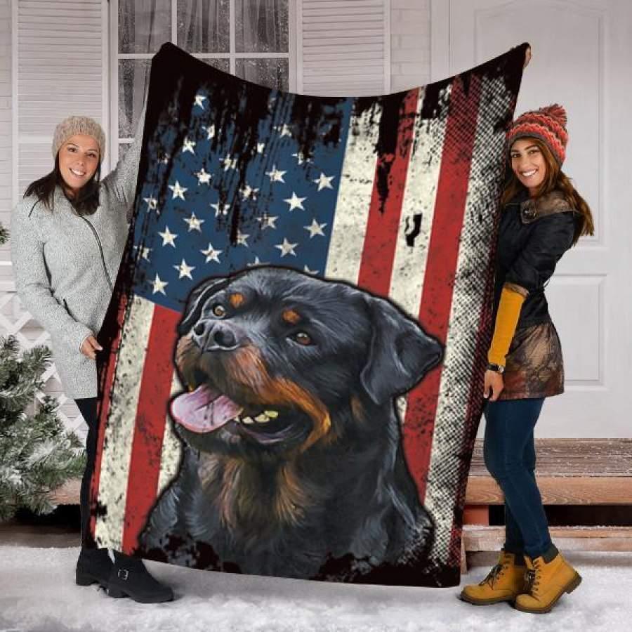 Custom Blanket Rottweiler Dog Blanket - Fleece Blanket