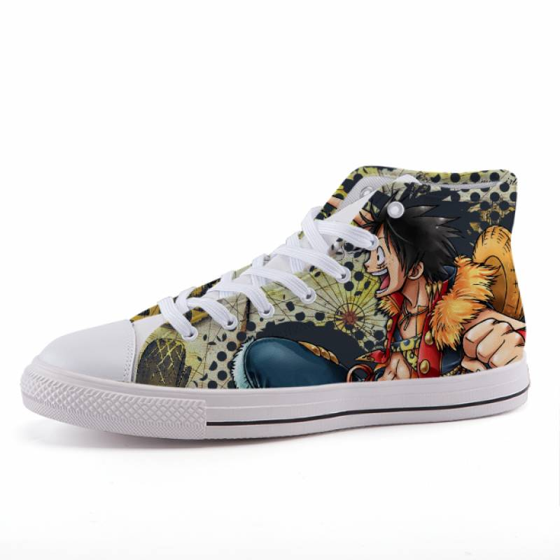 One Piece Monkey Luffy Anime Theme Design Sneaker Shoes