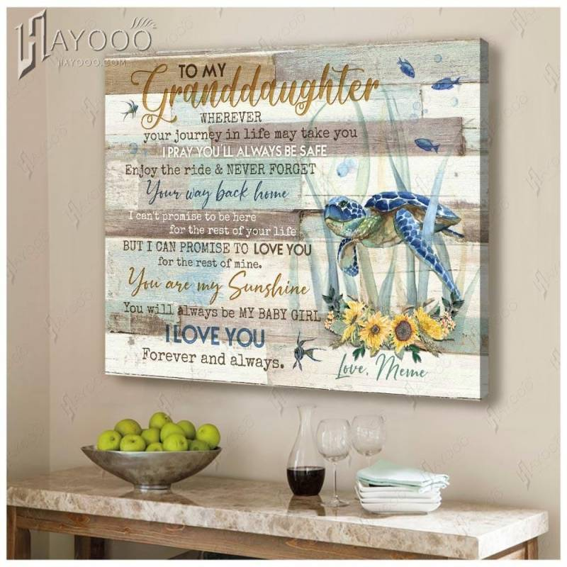 To my granddaughter from meme i pray you'll always be safe turtle family poster poster 3332203073