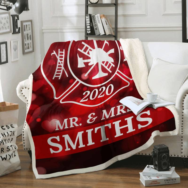 Personalized Firefighter Couple Fleece Blanket