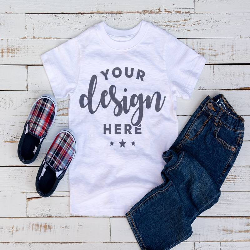 White  Kids Tshirt Mockup With Shoes and Jeans On Distressed Wood Hi Resolution 300 ppi Jpeg Image Kids Flat Lay