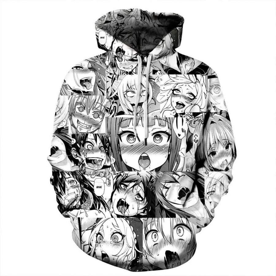 Anime Ahegao Hoodie Funny Print Men's Hoodie Street Casual Sweatshirt