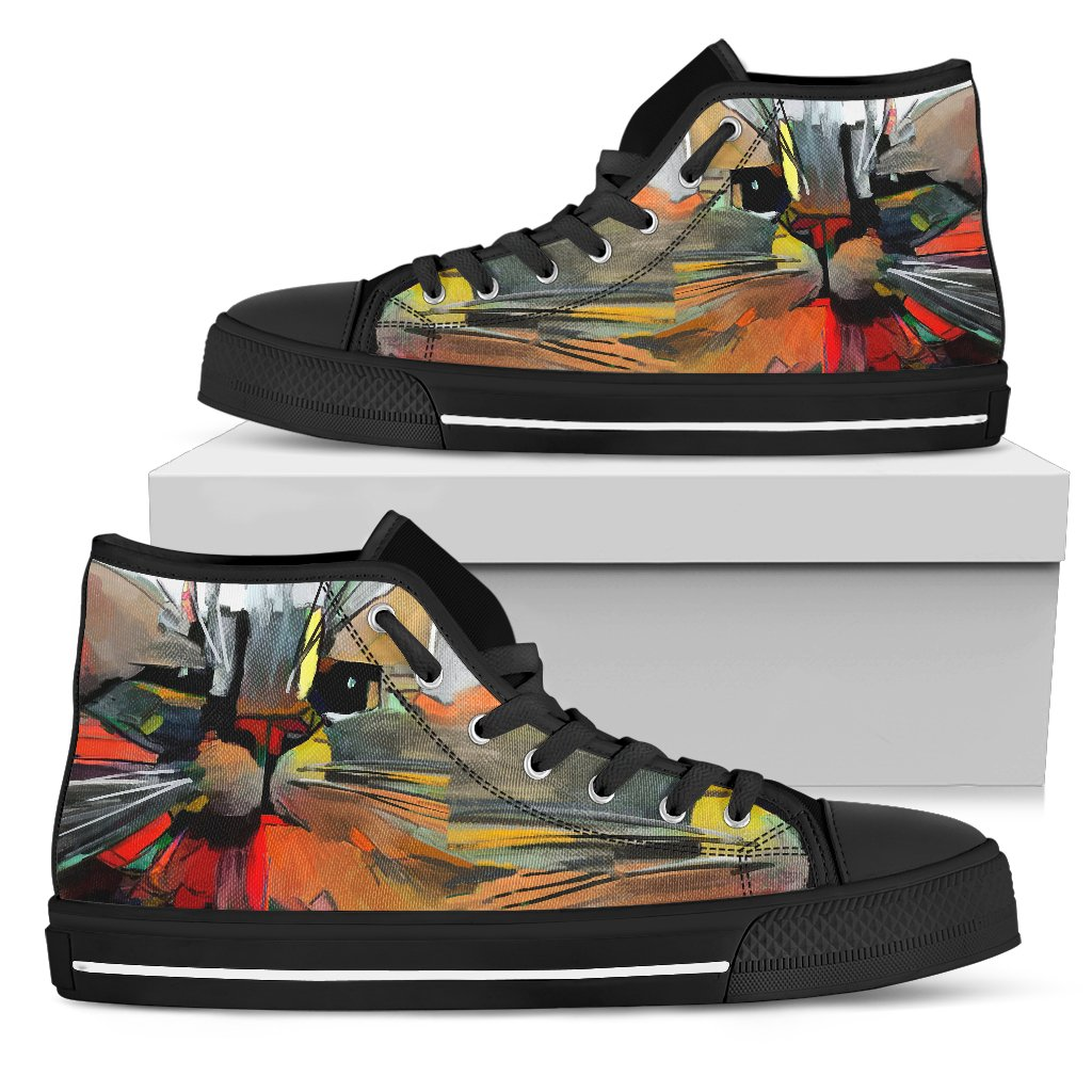 Abstract Cat Women's High Top Shoes (Black)