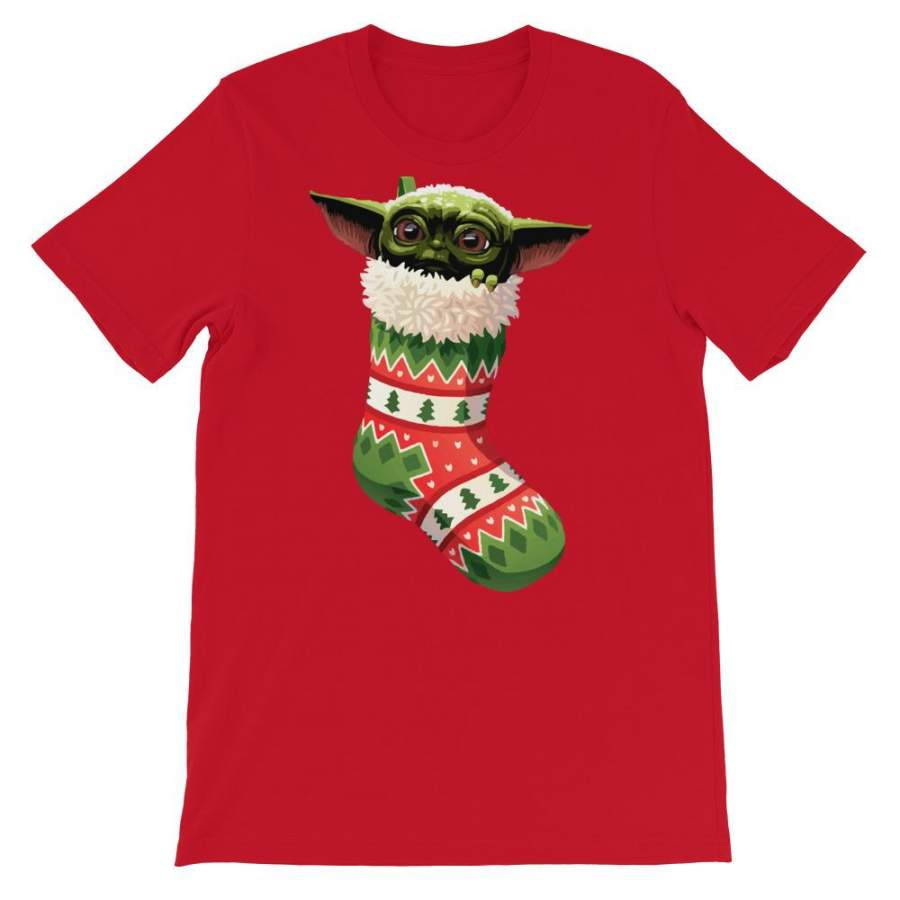 Baby Yoda Christmas Stocking Stuffer Short-Sleeve Unisex T ...