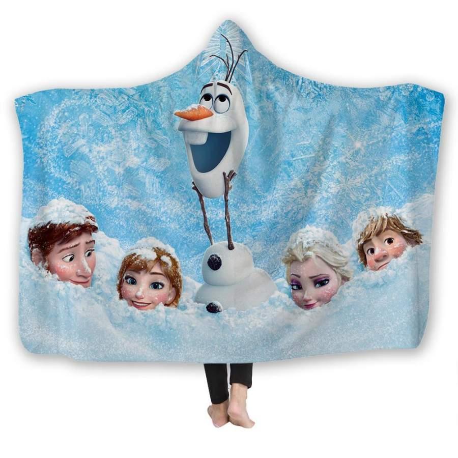 2019 Anna Elsa Kristoff Snow Print Hooded Blanket Snug Fleece Plush Robe Adult Kid