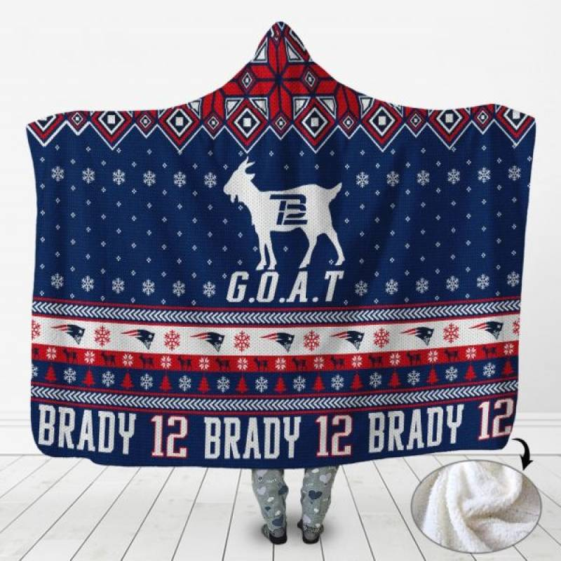 3D Hoodie Tom Brady New England Patriots Goat 3D Hooded Blanket