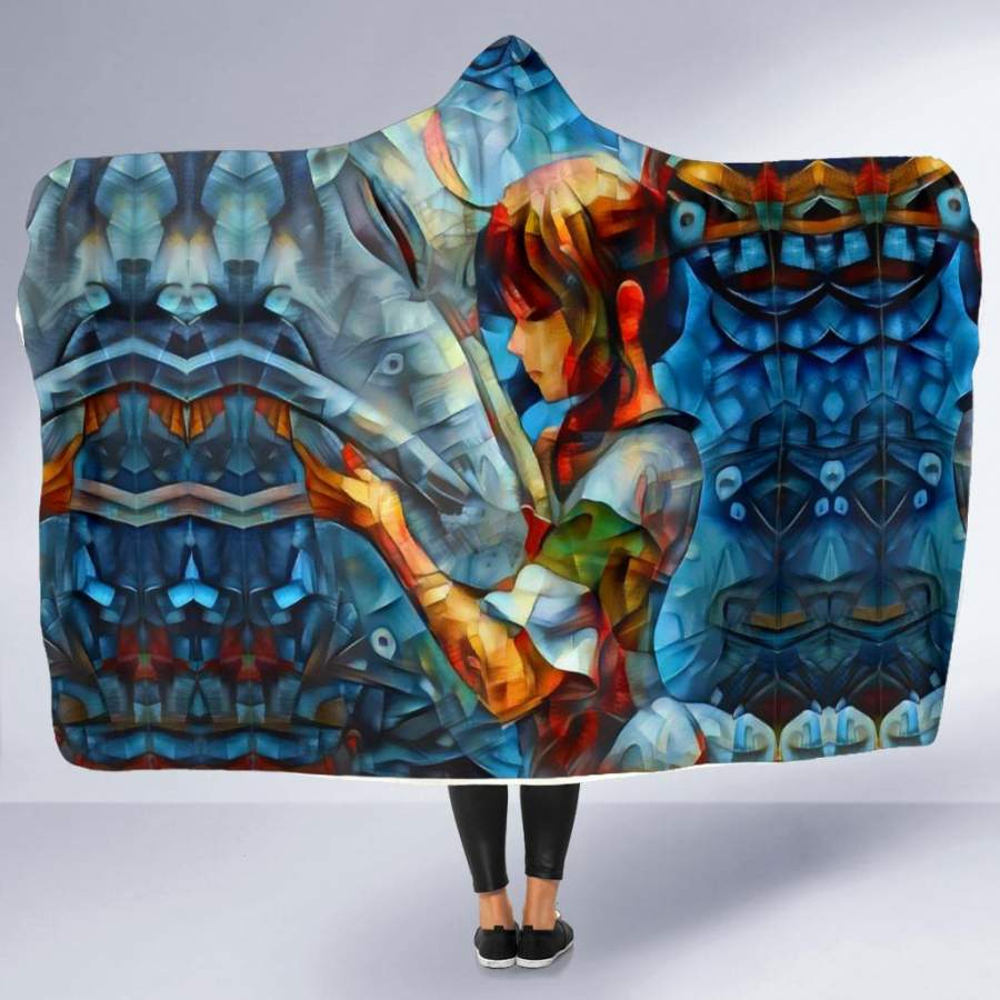 Abstract spirited away Hooded Blanket