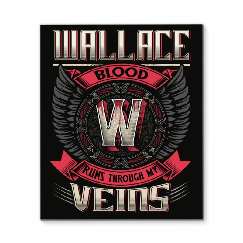 Wallace Blood Runs Through Veins Black Quote Name T-shirt Framed Canvas