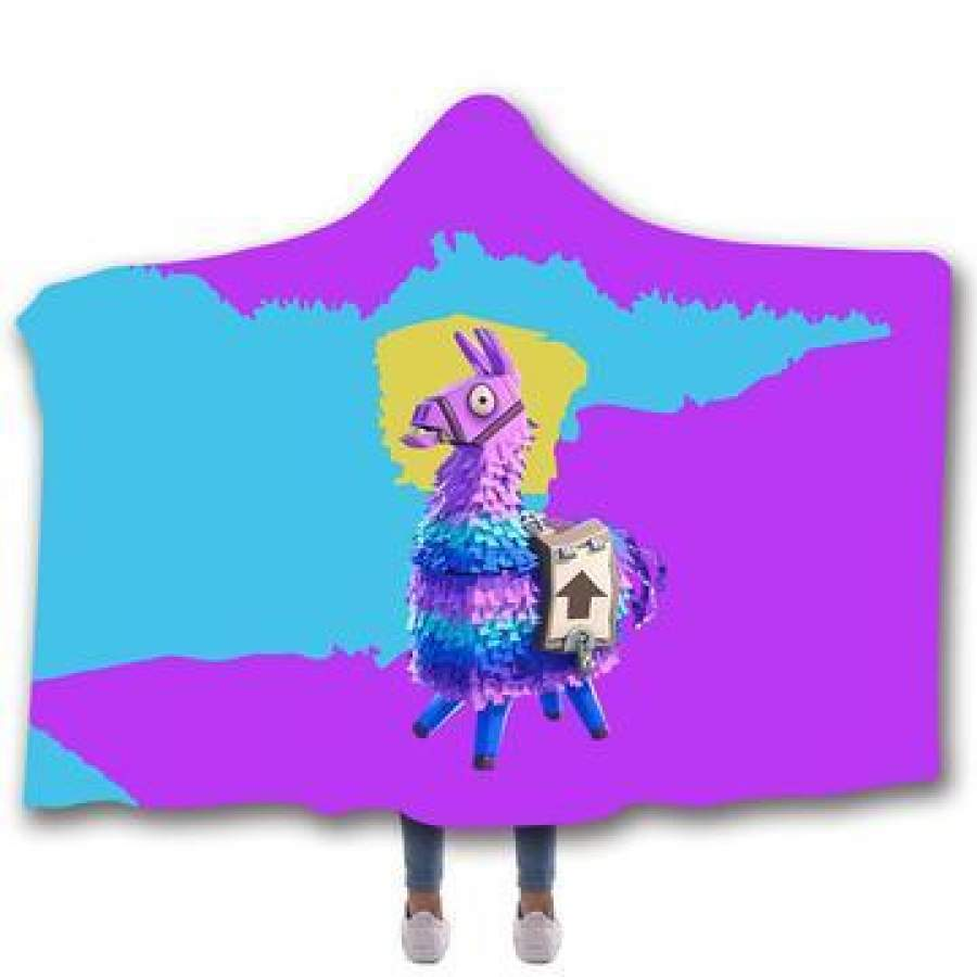 2019 Fortnite Llama Purple Hooded Blanket Super Soft Sherpa Fleece Blanket