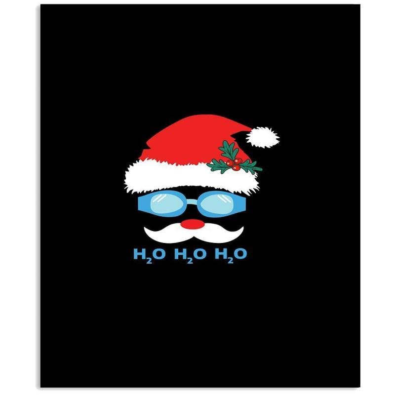 Santa Claus Swimming Ho Ho Ho Christmas Gift Black T-shirt Vertical Poster