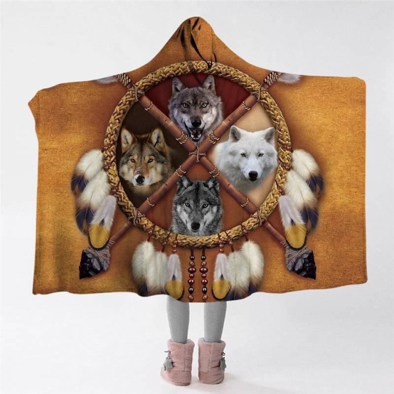 4 Wolves Hoodie Blanket