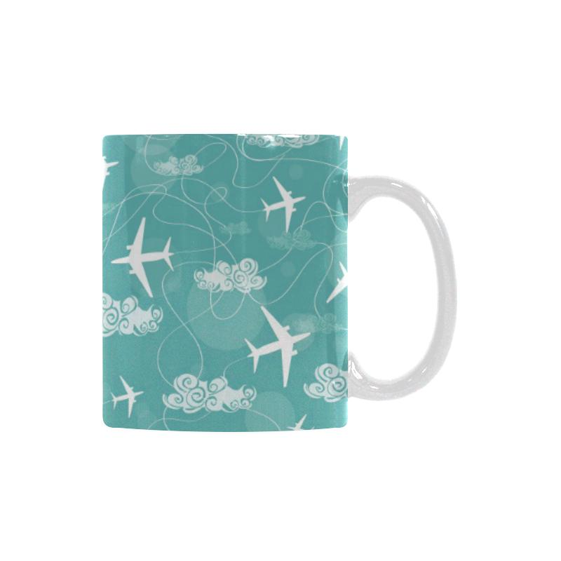 Airplane Cloud Pattern Green Background Classical White Mug (FulFilled In US)