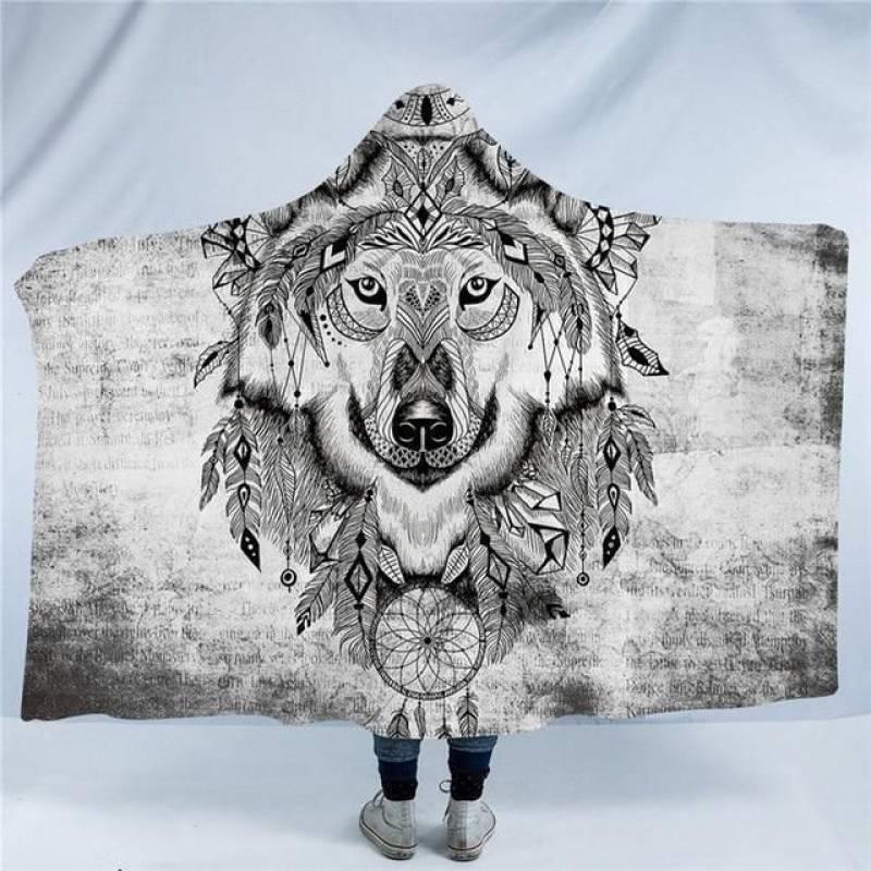 Tribal Wolf Hoodie Blanket