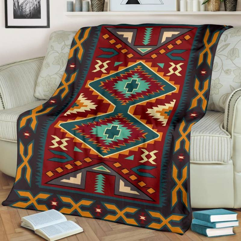 Native American Blanket - Native Red Yellow Pattern - BN01