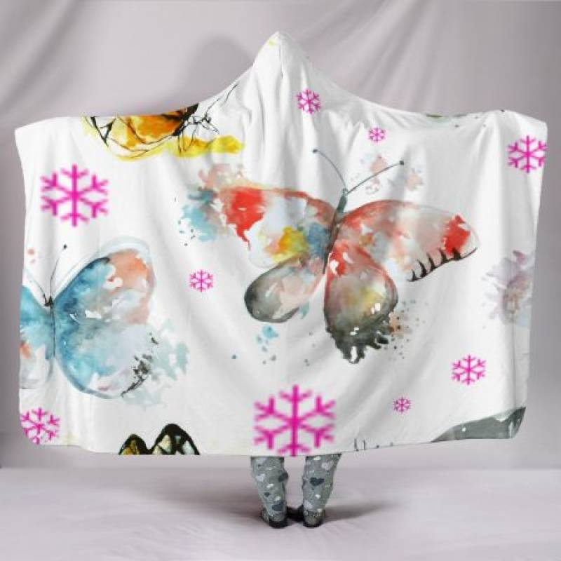 Customised Hoodie Blanket Pretty Butterfly Pattern