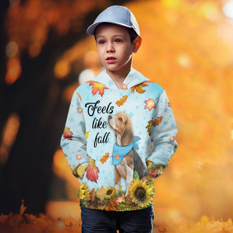 Dog Feels Like Fall T1409 - All Over Printed Kid Hoodie