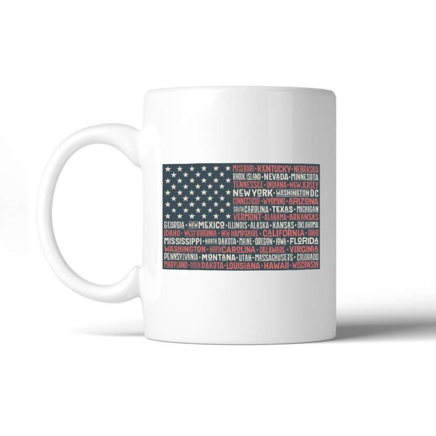 50 states us flag american flag coffee mug