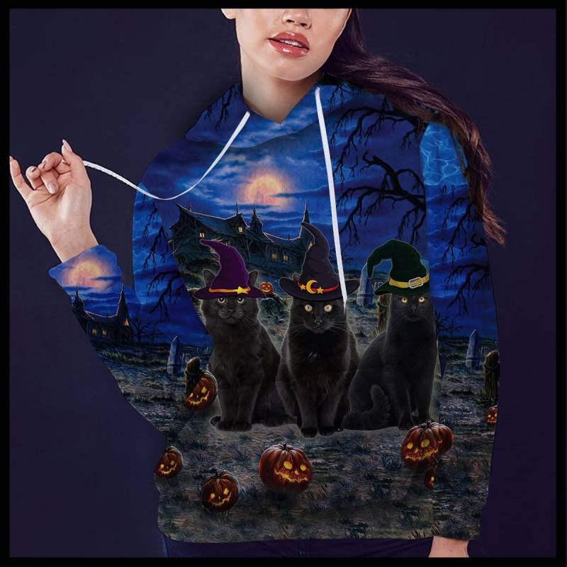 Three Black Cats Halloween Night T1609 - All Over Print Unisex Hoodie