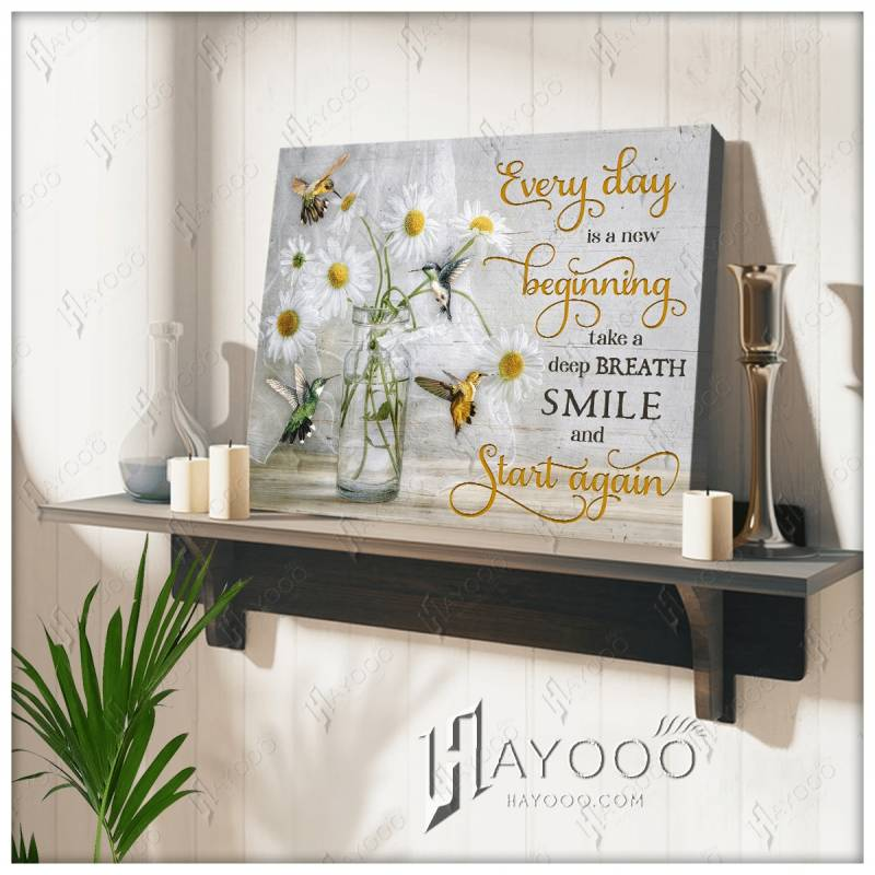 Every day is a new beginning hummingbird poster poster 3332203076