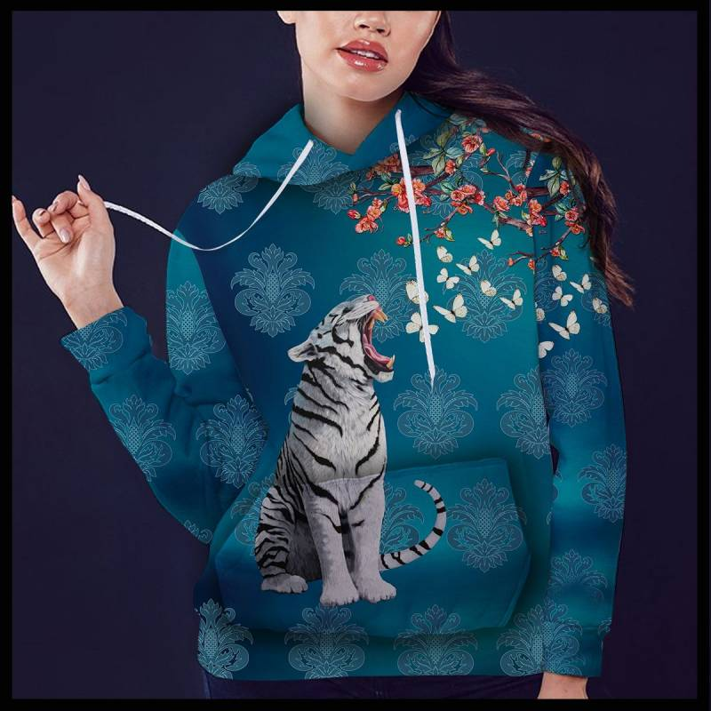 White Tiger Butterfly T1409 - All Over Print Unisex Hoodie