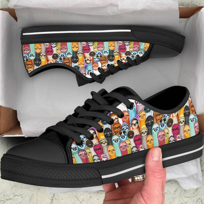 Ligerking™ Sloth Family Black  Low Top Shoes HD02608