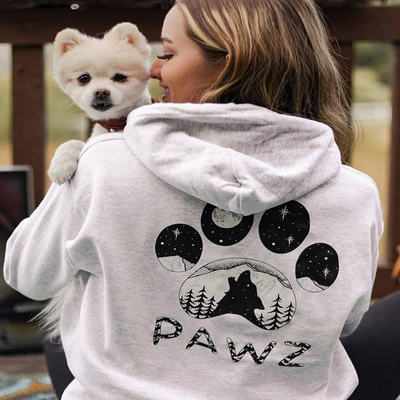 Ash Howling Wolf Pawz Print Hoodie