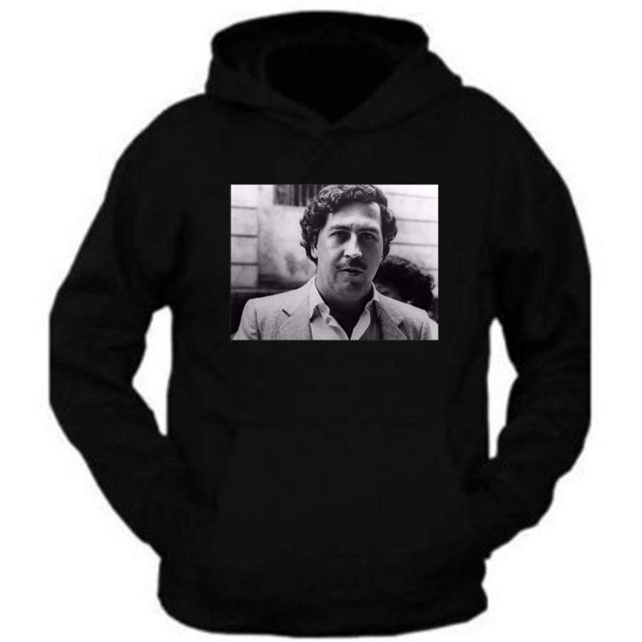 Pablo Escobar Smiling Mug Shot Adult Mens Hoodie Pablo Escobar Plug Tee Plata o Plomo Columbian Drug Lord Medellin