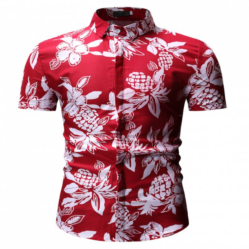 2019 Summer Style Men Shirt Palm Tree Print Beach Hawaiian Shirt Men Casual Short Sleeve Hawaii Shirt Chemise Homme