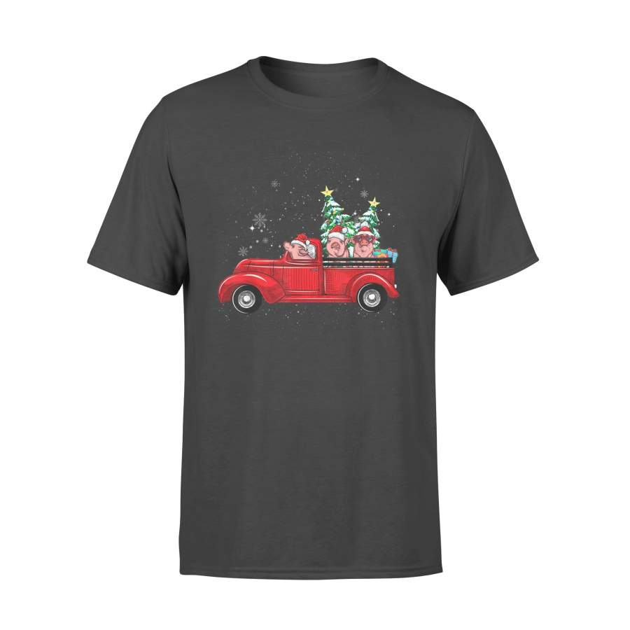 Cute Pigs Driving Red Truck To Celebrate Christmas Tee Gifts T-Shirt - Standard T-shirt